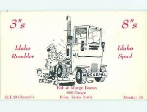 teamsters TRUCK TRUCKING - QSL CB HAM RADIO CARD Boise Idaho ID t9962