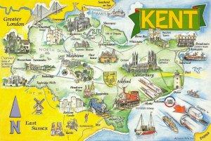 Kent Map Card Postcard 1992 by Crossroads Postcards No.80 78M