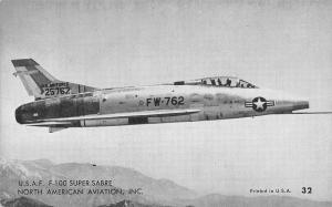 US Air Force War Plane~USAF F-100 Super Sabre~1950s B&W Arcade Card~USA #32