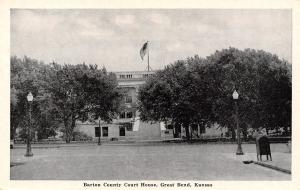 Great Bend KS Flag Flies Over Courthouse~Post Office Drop Box 1940s B&W