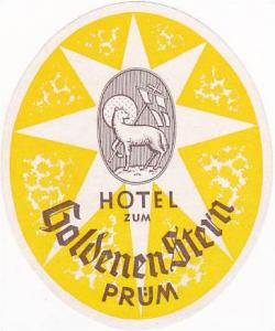 GERMANY PRUEM HOTEL ZUM GOLDENEN STERN VINTAGE LUGGAGE LABEL