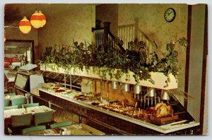 Kewanee Illinois~Davidson's Restaurant Buffet~Large Turkey~1960s Postcard