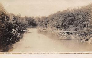 Lisbon North Dakota~Cheyenne River Suspension Foot Bridge @ 5th Street~1909 RPPC