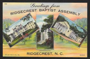 Ridgecrest Baptist Assembly Tri-View Ridgecrest North Carolina Unused c1940