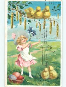 Pre-Linen Easter PRETTY GIRL REACHES UP TO CUTE CHICKS AB3953