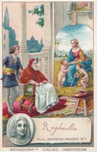 Raphael Italy Renaissance Painter Printed Signed Bendorps Postcard Trade Card
