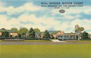 Tulsa Oklahoma~Will Rogers Motor Court~Year=Round A/C 1940s Postcard