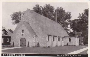 Wisconsin Galesville St Marys Church Real Photo RPPC