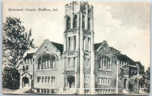 Bluffton, Indiana Postcard Reformed Church Building Street View w/ 1921 Cancel