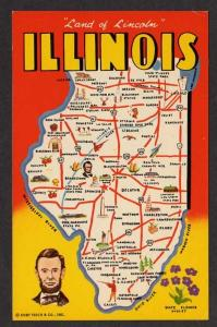 IL Greetings from ILLINOIS State Map Galesburg Moline