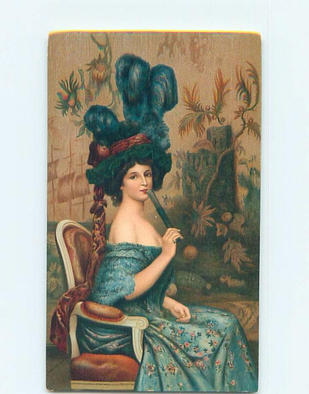 Pre-Linen risque PRETTY GIRL WITH BARE SHOULDERS IN BIG HAT WITH FAN HL4798@