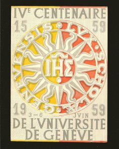 Postmark 1961 Geneve Switzerland 400th Anniversary University Geneva Postcard
