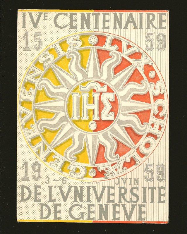 Postmark 1961 Geneve Switzerland 400th Anniversary University Geneva Postcard