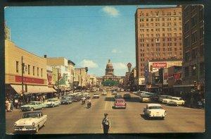 Congress Avenue street view old cars Austin Texas tx old chrome Postcard #8