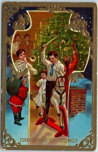 Vintage NASH Embossed Postcard CHRISTMAS GREETINGS Series 1 c1910s