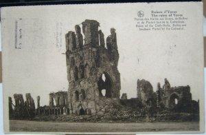 Belgium Ruines d'Ypres Ruines des Halles aux Draps du Beffroi - posted 1930