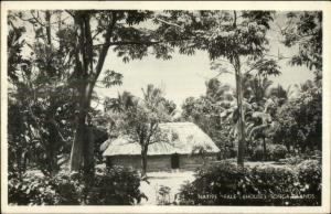 Tonga Islands Thatch Roof Home USED Real Photo Postcard Cover Stamps Cancel