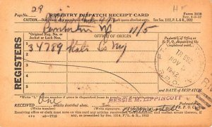 Registry Dispatch Receipt Card Mail Related 1942