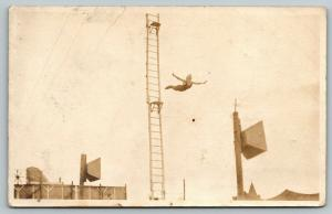 RPPC Woman High Diver Spreads Wings in Midflight~Announcers Speakers~c1916 PC