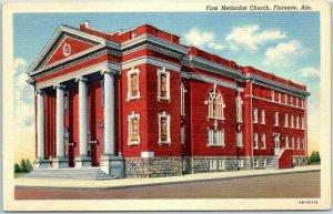 Florence, Alabama Postcard First Methodist Church Street View Curteich Linen