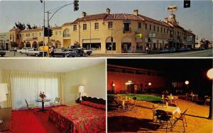 Tracy California~Tracy Motor Inn-Bistro Bar-Shops~3 Views~1960s Cars in Street