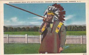 Cherokee Indian With Native Blow Gun Cherokee Indian Reservation Cherokee Nor...