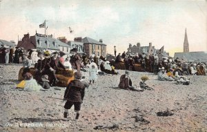 On the Beach, Largs, Scotland, early postcard, used in 1909