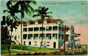Vintage MIRAMAR (Santruce) PUERTO RICO Postcard HOTEL EUREKA Building View