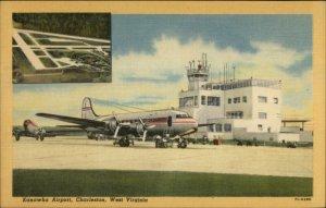 Charleston WV Kanawha Airport Airplane Linen Postcard