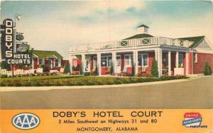 1940s Doby's Hotel Court roadside Montgomery Alabama Thomas postcard 12611
