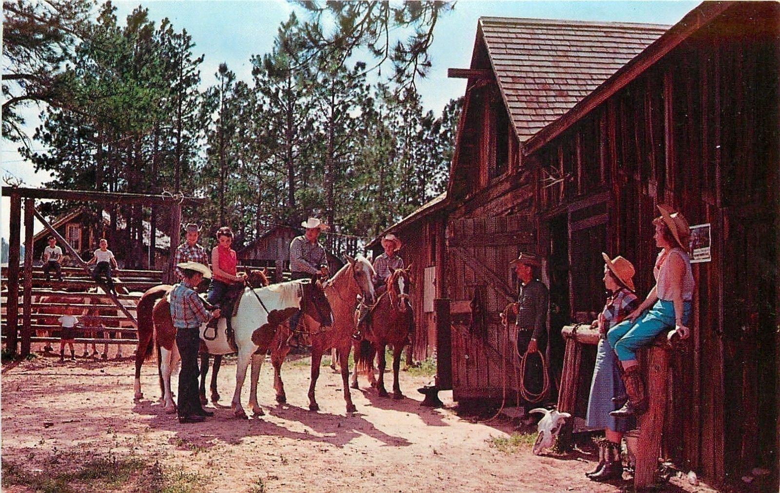 Nemo South Dakota~4T Guest Ranch Pony Rides~1950s Postcard