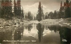 RPPC Postcard Mt. Rainier & Mirror Lake WA Ellis Photo 490 King County Unposted