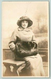 Williamsport PA Pleasant Lady on Bench~Wool Coat~Big Fur Handmuff~Hat~RPPC c1910