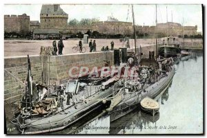 Old Postcard Boat War Destroyers St Malo in the basin afloat L & # 39heure soup