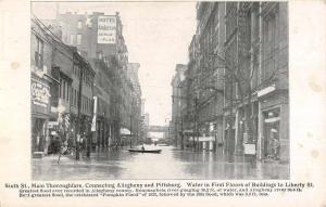 Pittsburg Pennsylvania Sixthe Street Scene Flood Antique Postcard K87339