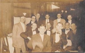 Irish Kiss 15c Pennant~Rowdy Group Men's Photo~Drinks~Smoker~1912 RPPC