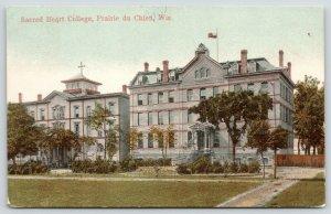 Prairie du Chien Wisconsin~Sacred Heart College~Catholic School~1908 Postcard
