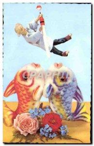 Postcard Modern Doll Fish Flowers