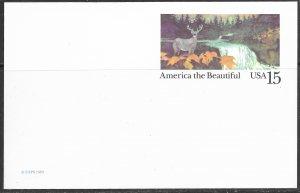 US Unused. America the Beautiful. UX133. Deer & river. Nice.