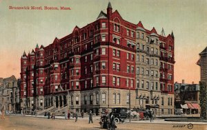 Brunswick Hotel, Boston, Mass., Early Postcard, Used in 1912