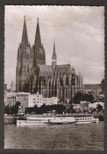 Koln Cathedral & River Cruise Ship - Real Photo - Unused