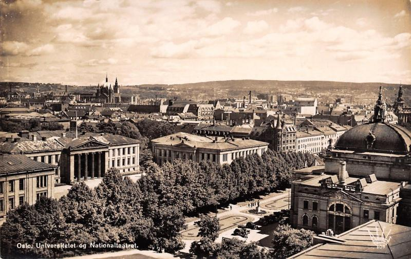 Oslo Norway~University of Oslo~Campus Panorama~1950 Real Photo Postcard~RPPC