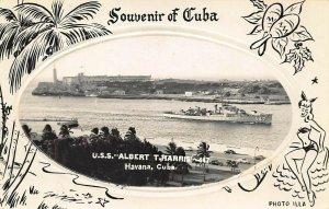 Havana Cuba U. S. S. Albert T. Harris Navy Ship..447 Real Photo Postcard