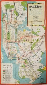 New York Subway Map 1940s Given to Military Personnel pub. NY Telephone Company
