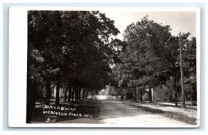 Postcard Broadway, Sheboygan Falls, Wisconsin WI 1914 RPPC H15
