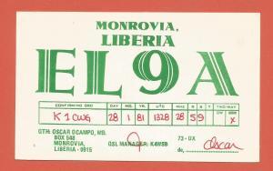 QSL AMATEUR RADIO CARD – MONROVIA, LIBERIA – 1989