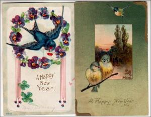 New Years - 2 Cards with Birds