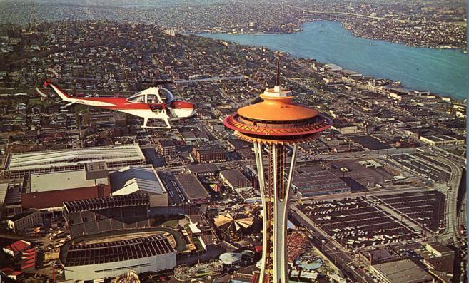 Helicopter and Space Needle - Seattle WA, Washington