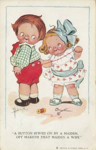 Grace DRAYTON-WIEDERSEIM, PU-1913; Girl sewing button onto boys' pants