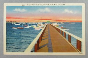 The Harbor And Pier, Hyannis Port, Cape Cod MA 1944 Postcard (#7951)